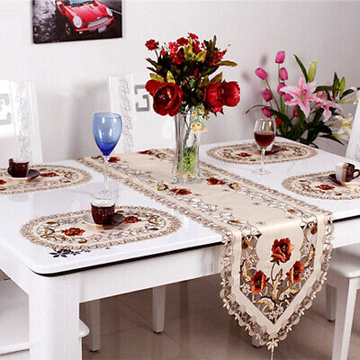 AU23.39 • Buy Embroidered Floral Lace Dining Table Runner Mat Doilies Wedding Party Home Decor