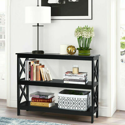 £59.99 • Buy 3-Tier Console Table X-design Wooden Hall Desk Side End Table W/ Shelf Black