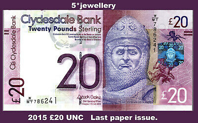 £39.90 • Buy Real 2015 Clydesdale Bank £20 Twenty Pound UNC Last Paper Issue Banknotes