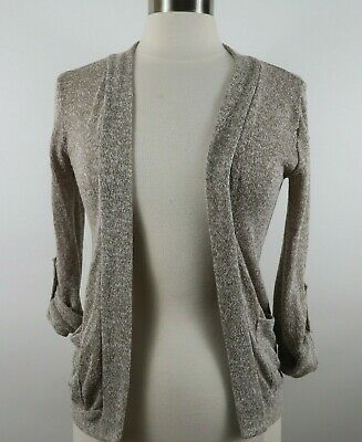 £8.37 • Buy About A Girl Womens Stretch Sheer Knit Rayon 3/4 Sleeve Taupe Shrug Sweater XS