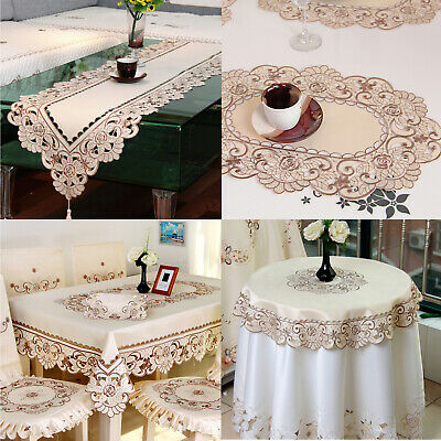 AU17.99 • Buy Vintage Embroidered Lace Table Runner Dining Table Cloth Cover Mat Wedding Party