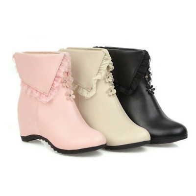 Women Round Sweet Lolita Lace Floral Wedge Heels Ankle Boots Winter Shoes Ting1 • 38.32£