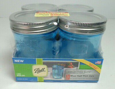 $19.99 • Buy 4 BALL 1/2 Pint BLUE New In Packaging 8 Oz With Lids & Rings Canning Jelly Jars