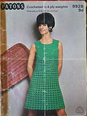 "PATONS 9928: 4-PLY CROCHET LACE PATTERN DRESS TO FIT 32-36"", VINTAGE 1960s  • 1.75£"