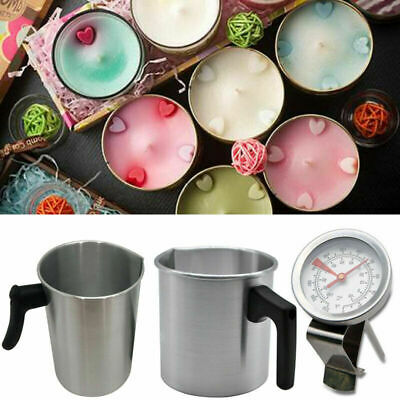 Wax Melting Pot Pouring Pitcher Jug Boiler Candle Soap Making Thermometer • 18.56£