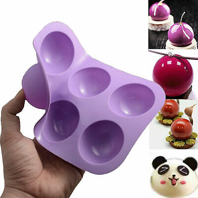 6 Half Ball Sphere Silicone Cake Mold Chocolate Cookie Ice Candy Baking Mould • 3.39£