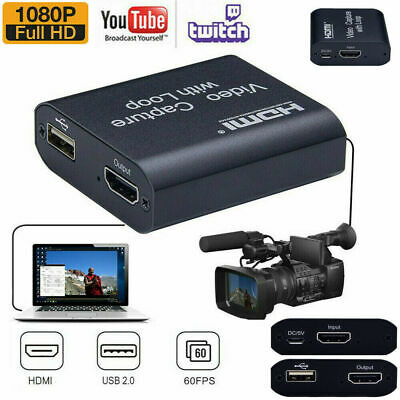 4K HD 1080P 60fps HDMI Video Capture Card USB 2.0 Mic Game Record Live Streaming • 12.71£
