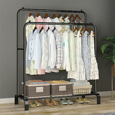 £28.45 • Buy Heavy Metal Double Clothes Rail Hanging Rack Garment Display Stand Storage Shelf