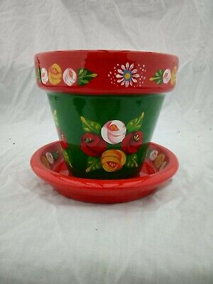 £9.50 • Buy Green/Red Terracotta Pot And Plate Roses And Castles Hand Painted Barge Ware #03