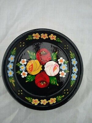 £5 • Buy Black Terracotta Tray / Plate Roses And Castles Hand Painted Barge Ware #01