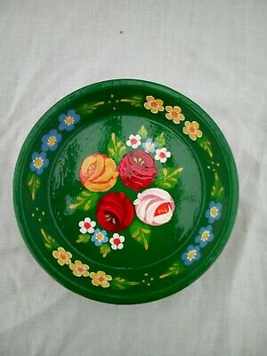 £5 • Buy Green Terracotta Tray / Plate Roses And Castles Hand Painted Barge Ware 11cm #01