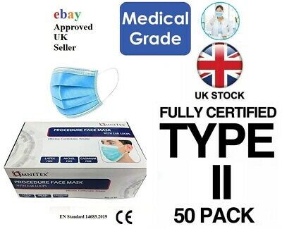British Brand | Omnitex 50pk 3ply Premium Type II Disposable Surgical Face Mask  • 11.95£