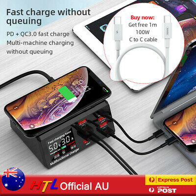 AU49.95 • Buy AU 100W 8 Ports USB Charger Quick Charge Fast Wireless Charging Station HUB