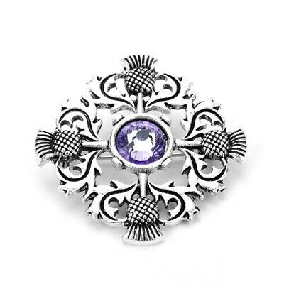 £5.95 • Buy Scottish Celtic Thistle National Flower Delicate Silver Brooch W. Purple Stone