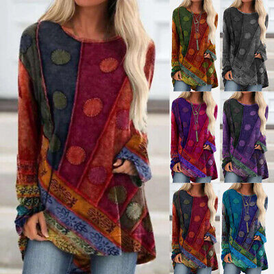 Womens Long Sleeve Boho T-Shirt Casual Pullover Retro Blouse Loose Jumper Tops • 9.36£