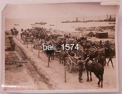 Original Ww1 Real Photo Gallipoli - Cape Helles Landing - Horse, Carts & Ships • 34.95£