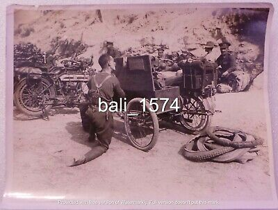 Original Ww1 Real Photo Gallipoli - Despatch Riders Douglas Motorbikes + Sidecar • 49.95£