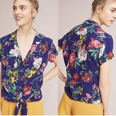 $ CDN62.66 • Buy Anthropologie Maeve Bateau Floral Tie Front Top Navy Size 10