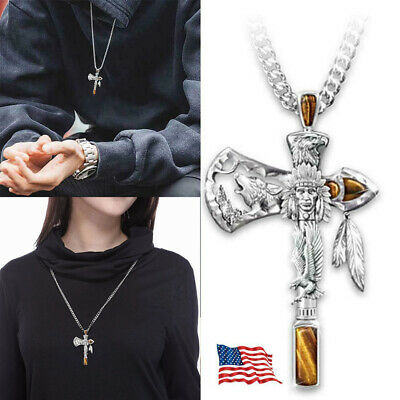 $7.88 • Buy Cross Pendant Necklace For Man Christian Presents Gifts Pirate Tomahawk Pendant