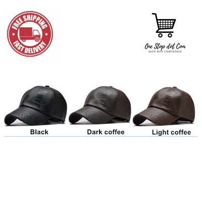 Caps For Men Women Leather Vintage Style Fashion Casual Winter Baseball Caps • 13.09£