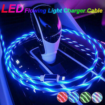 LED Flowing Light Up Charge Cable For IPhone / Samsung / Android / Mobile Phone • 3.99£