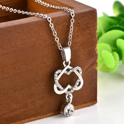 AU9.79 • Buy VALENTINE'S DAY Gifts For Him For Her Double Peach Heart Double Heart Necklace