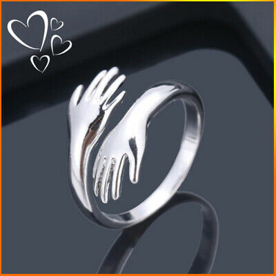 Ring Alloy Love Open Jewelry Fully Hug Silver Plated Finger Adjustable Elegant • 2.89£