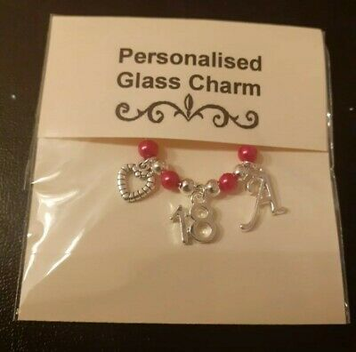 18th Birthday Gift - Personalised Wine / Gin Glass Charm - 3 X Charms - Choices • 1.85£