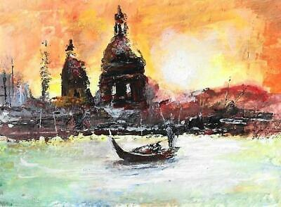 £9.94 • Buy ACEO Sunset Italy Venetian Canal Boat Landscape Original Painting Art