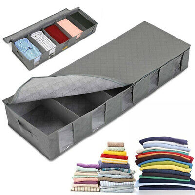 1/2x Large Capacity Under Bed Storage Bag Box 5 Compartments Clothes Organiser • 13.99£
