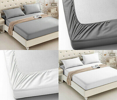 Fitted Sheet 600 Thread Count 100% Egyptian Cotton Bed Sheets Double King Size • 17.99£