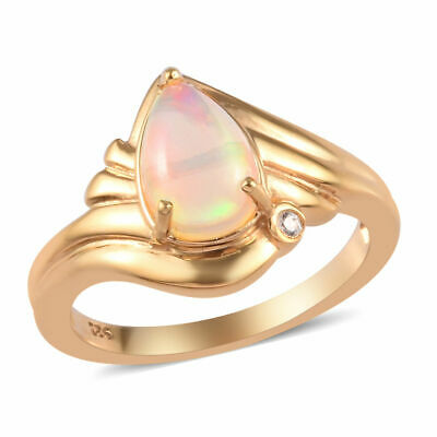Solitaire Sterling Silver 14ct Gold Plated Ring Opal Cambodian Zircon, 1 Ct TJC • 21£