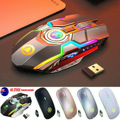 AU12.33 • Buy LED Wired Wireless Gaming Mouse G80 RGB USB Ergonomic Optical For PC Mice Laptop