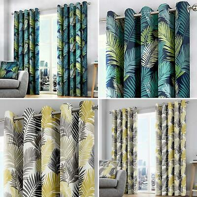 Tropical Eyelet Curtains Palm Leaf Print Ready Made Lined Ring Top Curtain Pairs • 21.95£