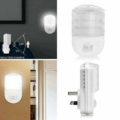 Useful Plug In PIR Motion Sensor Hallway Plug Socket LED Night Light White Lamp • 11.47£