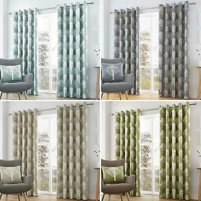£23.95 • Buy Woodland Trees Eyelet Curtains Cotton Ready Made Lined Ring Top Curtain Pairs