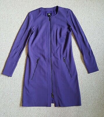 $ CDN10.07 • Buy NWOT Womens Dress-W By WORTH-purple Rayon Stretch Knit Full Front Zip-up Lined-2