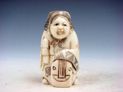 £50.70 • Buy Japanese Detailed Hand Carved Netsuke Lady Musician Holding Instrument #01062105