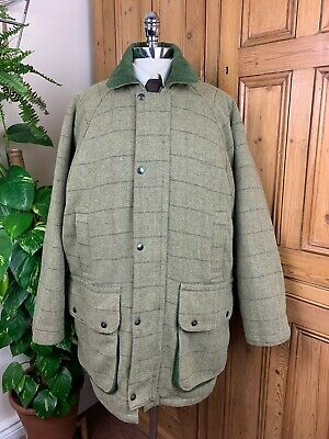 Men's Sage Green Derby Warm Quilted Tweed Shooting Hunting Outdoor Winter Coat L • 49.99£