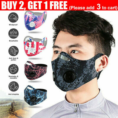 AU8.69 • Buy Reusable Face Mask With Filter Anti Air Pollution PM2.5 Two Valve Washable AU