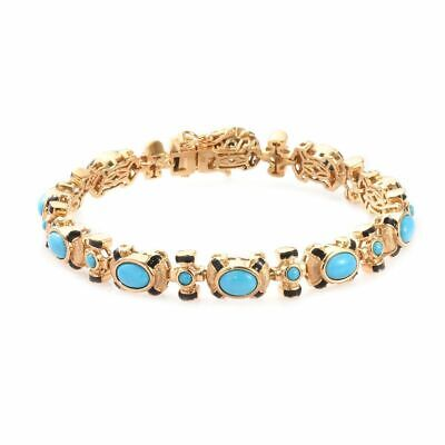 TJC Sleeping Beauty Turquoise Bracelet Station 14ct Gold Plated Sterling Silver • 132.99£
