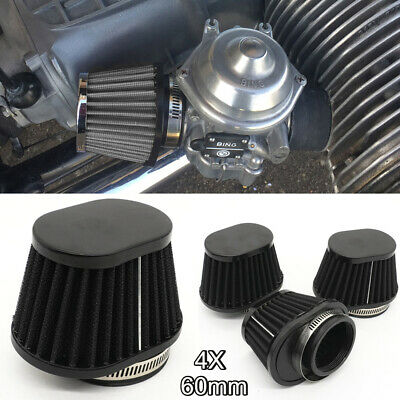 £22.99 • Buy 4x 60mm Motorcycle Air Filter Vent Cone Clamp-on Pod Cleaner Universal Capacity