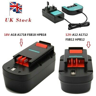 £18.91 • Buy Battery+Charger For Black&Decker (18V)HPB18 HPB18-OPE A18 A1718 (12V) A1712 A12