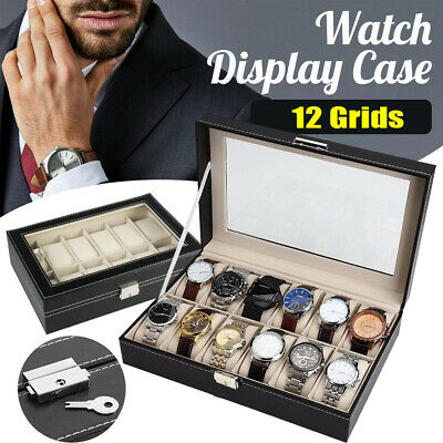 £11.99 • Buy 12 Grids Leather Watch Case Bracelet Collection Storage Holder Glass Display Box