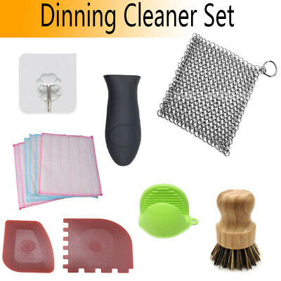 Steel Cast Chainmail Cleaner Scrubber Home Kitchen Bamboo Brush Heat Resistant • 14.59£