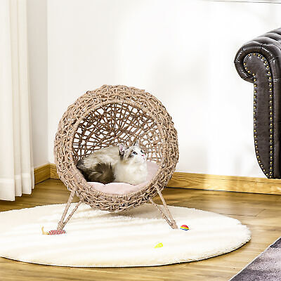 £67.99 • Buy Rattan Wicker Elevated Cat House Kitten Pussy Basket Pet Bed W/ Cushion Natural