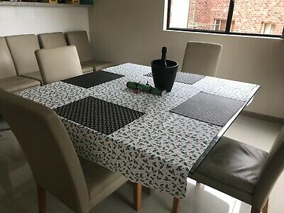 AU150 • Buy Modern Dining Set - Glass Table And 8 Genuine Leather Chairs