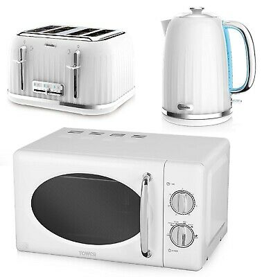£189.99 • Buy White Set Breville Impressions Electric Kettle & 4 Slice Toaster Tower Microwave