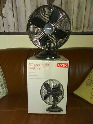 Logik Fan 10'' Gun Metal Desk Fan  Brand New In Box  • 19.99£