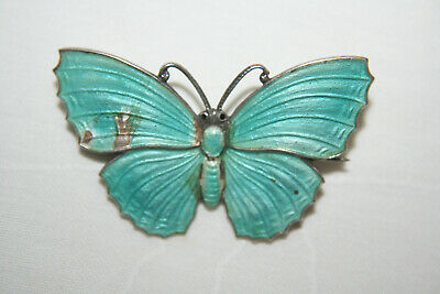 Edwardian Silver And Enamel Butterfly Insect Brooch • 28£